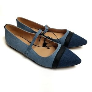 NWT Who What Wear Denim Pointed Toe Flats
